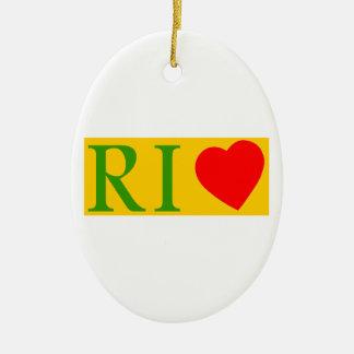 Rio de Janeiro amor Adorno Navideño Ovalado De Cerámica