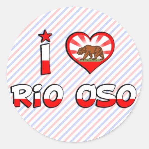Río Oso, CA Pegatina Redonda