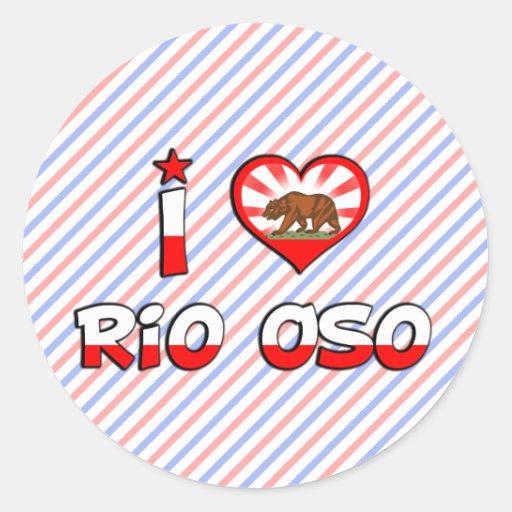 Río Oso, CA Etiqueta Redonda