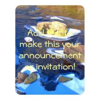 Río rocoso helado invitación 10,8 x 13,9 cm