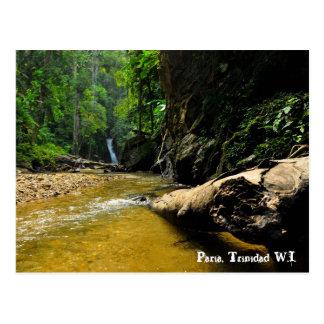 Río y cascada, Trinidad W.I. de Paria Postal