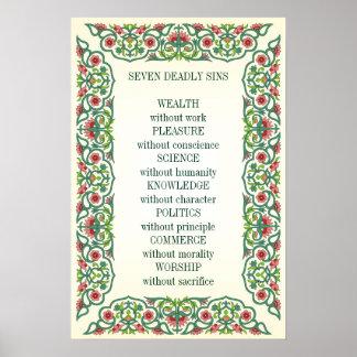 Riqueza de siete pecados mortales sin placer del póster