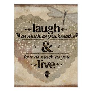 Risa, amor, vivo postal