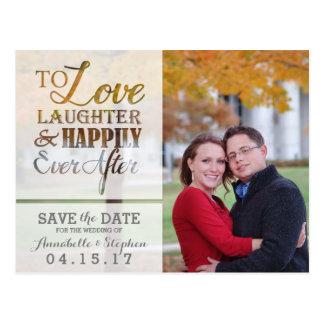 Risa del amor feliz nunca después de reserva la postal