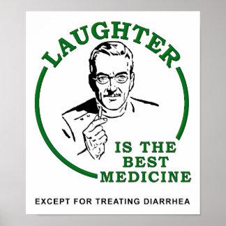 Risa el poster divertido de la medicina de la