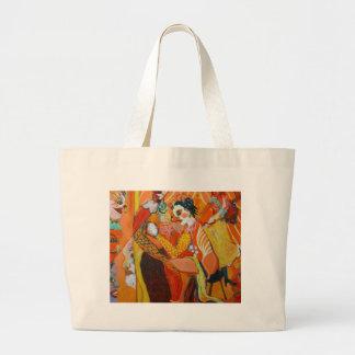 Risa - pintura del payaso bolsa de tela grande
