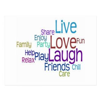 Risa viva del amor postal