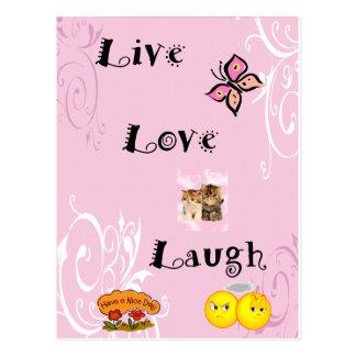 Risa viva del amor postales