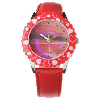 Rizo abstracto de Marbelized (violeta roja) Relojes De Pulsera