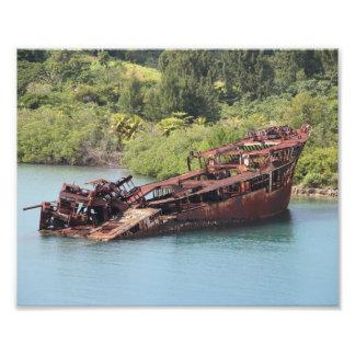 Roatan Honduras, naufragio a lo largo de la costa Foto