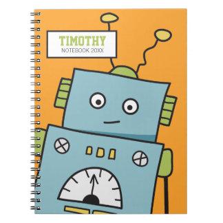 Robot azul lindo con nombre personalizado cuaderno