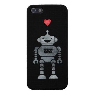 Robot dulce, feliz con poco corazón rojo iPhone 5 fundas