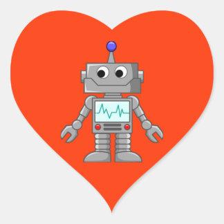 Robot Freak Pegatina En Forma De Corazón