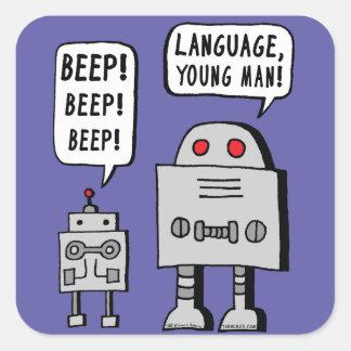 Robot que emite un sonido breve y agudo pegatina cuadrada