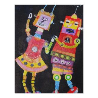 Robots del baile tarjeta publicitaria