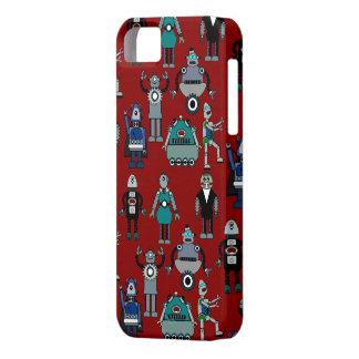 ¡Robots retros del vintage en el rojo - diversión Funda Para iPhone SE/5/5s