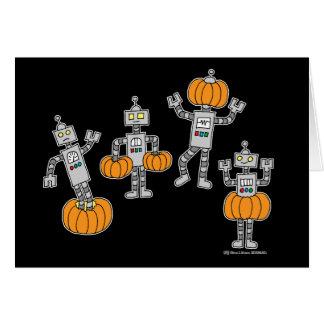 Robots y calabazas tarjeta