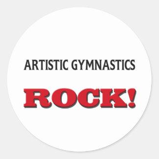 Roca artística de la gimnasia etiquetas redondas
