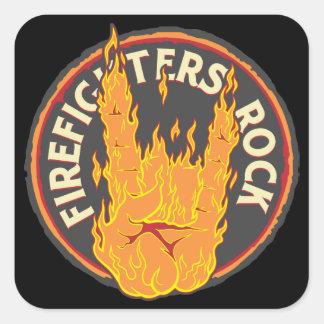 ¡Roca de los bomberos! Calcomania Cuadrada Personalizada