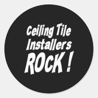 ¡Roca de los instaladores de la teja del techo! Etiqueta Redonda