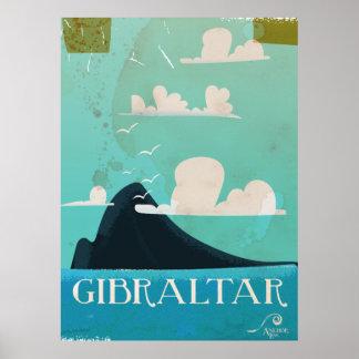 Roca del poster del viaje del vintage de Gibraltar Póster