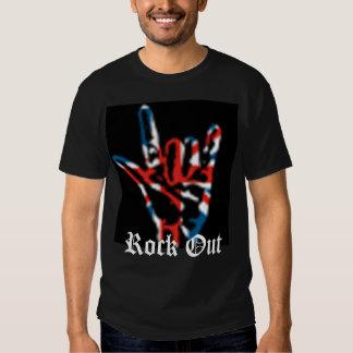 Roca encendido, roca hacia fuera camiseta