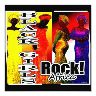 Roca negra… África de los chicas Invitación 13,3 Cm X 13,3cm
