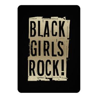 ¡Roca negra de los chicas! Invitación 12,7 X 17,8 Cm