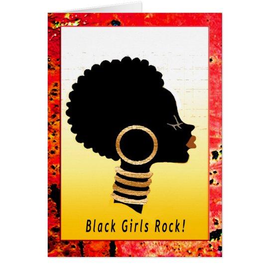 ¡Roca negra de los chicas! Tarjeta De Felicitación