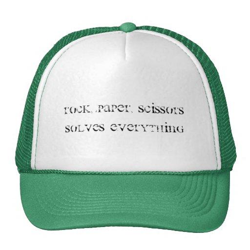 Roca, papel, tijeras gorras