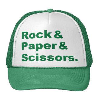 Roca y papel y gorra de las tijeras