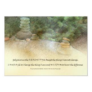 Rocas apiladas rezo de la serenidad invitación 12,7 x 17,8 cm