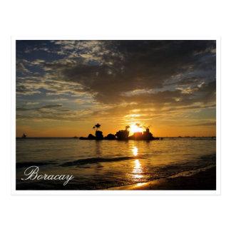rocas de la puesta del sol de Boracay Tarjeta Postal