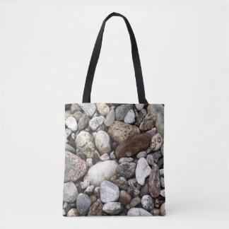 Rocas del cauce del río bolso de tela