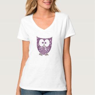 Rocas púrpuras del búho de Bling del brillo del Camiseta