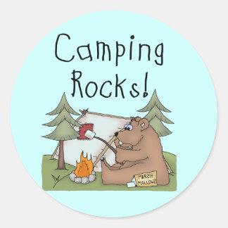 Rocas que acampan pegatina redonda