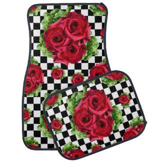 Rockabilly floral del amor del ramo de los rosas alfombrilla de coche