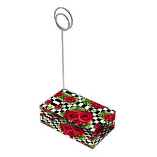 Rockabilly floral del amor del ramo de los rosas soporte de tarjeta de mesa