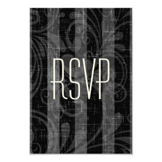 Rockabilly que casa RSVP negro y gris rayado Invitación 8,9 X 12,7 Cm
