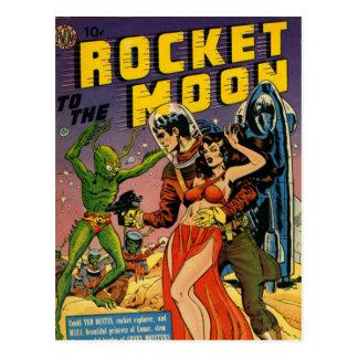 Rocket a la luna cómica postal