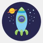 Rocket retro pegatinas redondas