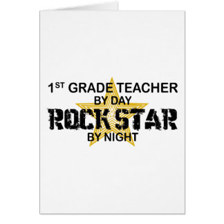 Rockstar por la noche - 1r grado tarjeta de felicitación