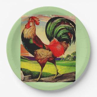 Rocky el gallo hermoso plato de papel