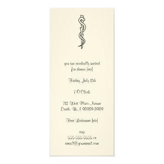 Rod de Asclepius [símbolo médico] Invitación 10,1 X 23,5 Cm