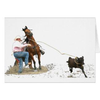 Rodeo - el atar del becerro; El Roping del becerro Tarjeta De Felicitación