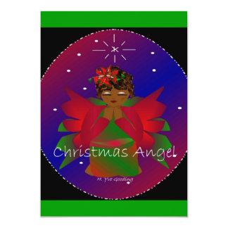 Rogación afroamericana de la niña del ángel del invitación 12,7 x 17,8 cm