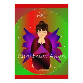 Rogación de la niña del ángel del navidad invitación 12,7 x 17,8 cm