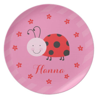 Roja placa personalizada pequeña mariquita de la platos de comidas