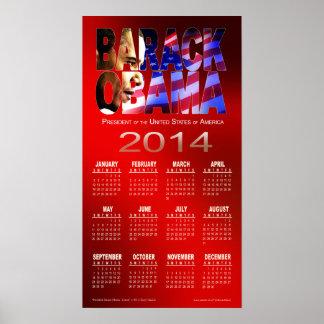 Rojo 2014 del calendario el del recorte de Barac Posters