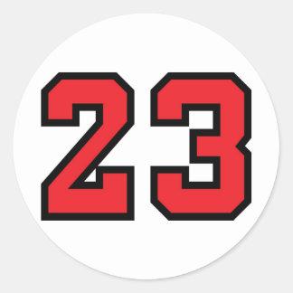 Rojo 23 pegatina redonda